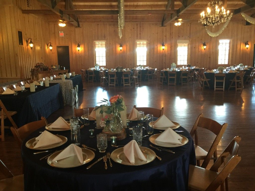 Navy Moire linens #rusticandglam #navyandsilverwedding #silverchargers #TheSpringsGeorgetown Any Occasion Event Rental Photos - Houston, TX Event Rentals