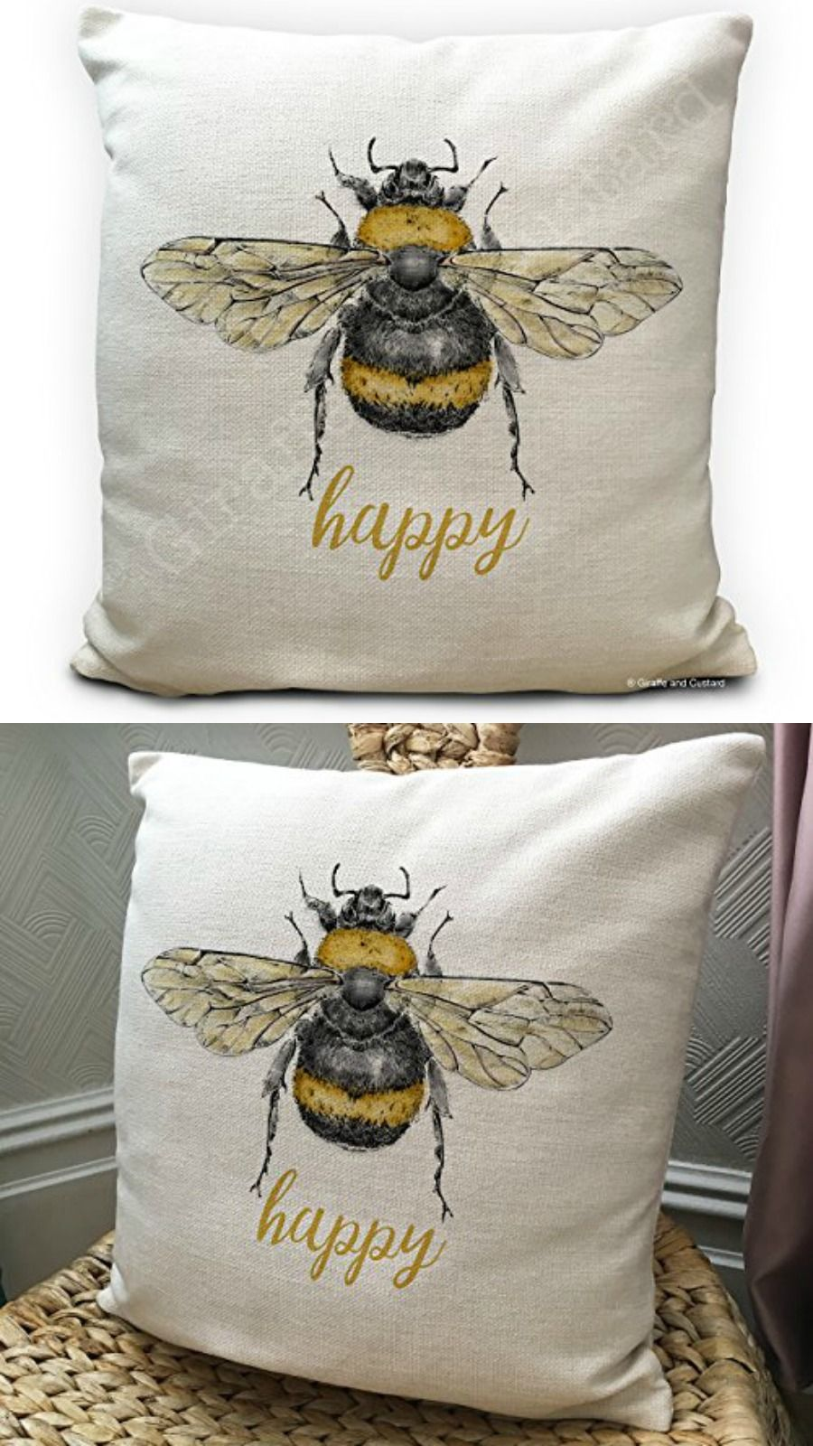 These Bee Happy Bumble Honey Cushion Covers Make An Ideal Gift