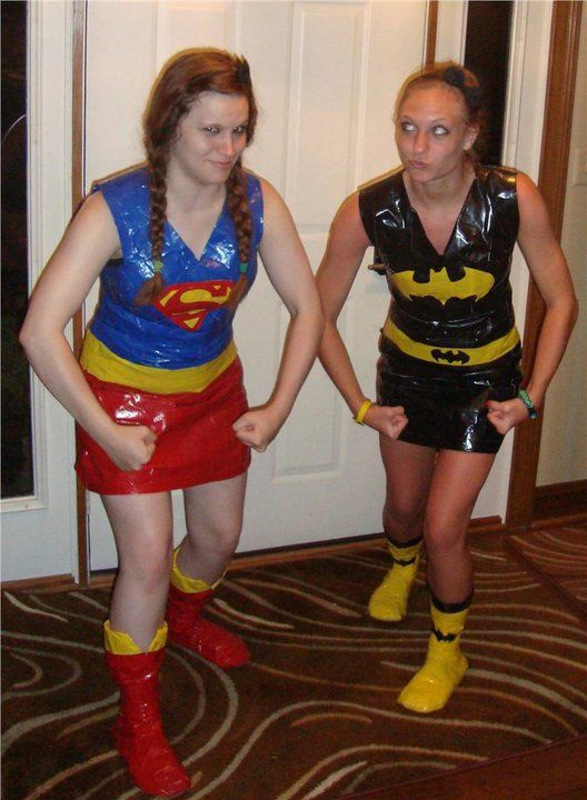 Superhero duct tape dresses and boots. It was the perfect costume I might reuse it for Halloween!