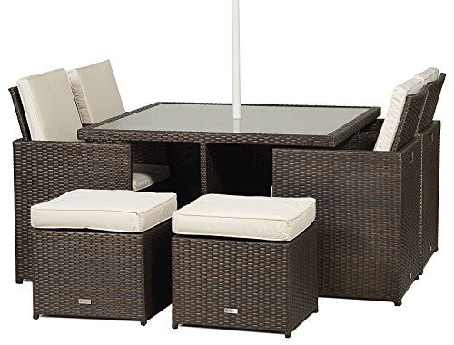 Milano Rattan Garden Furniture Glass Dining Table Cube Set With 4 High Back Chairs 4 Stools Cushions Umbrella Parasol Dust Cover Garden Patio Conservatory Lounge Furniture
