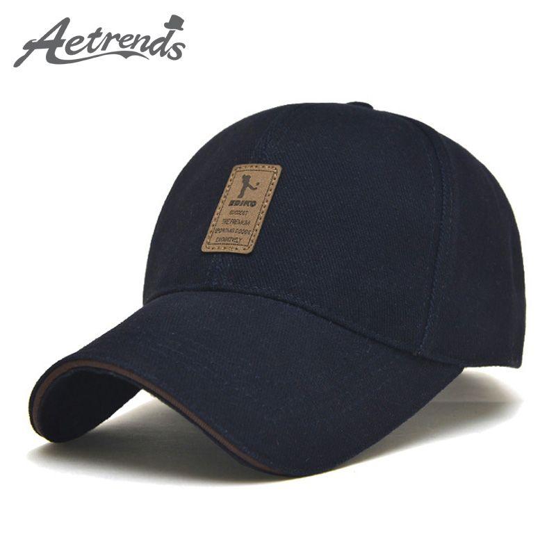 bc9e2cb3b38  AETRENDS  2016 New Arrival Men s Cotton Baseball Cap 6 Panel Snapbacks Bone  Polo Hat