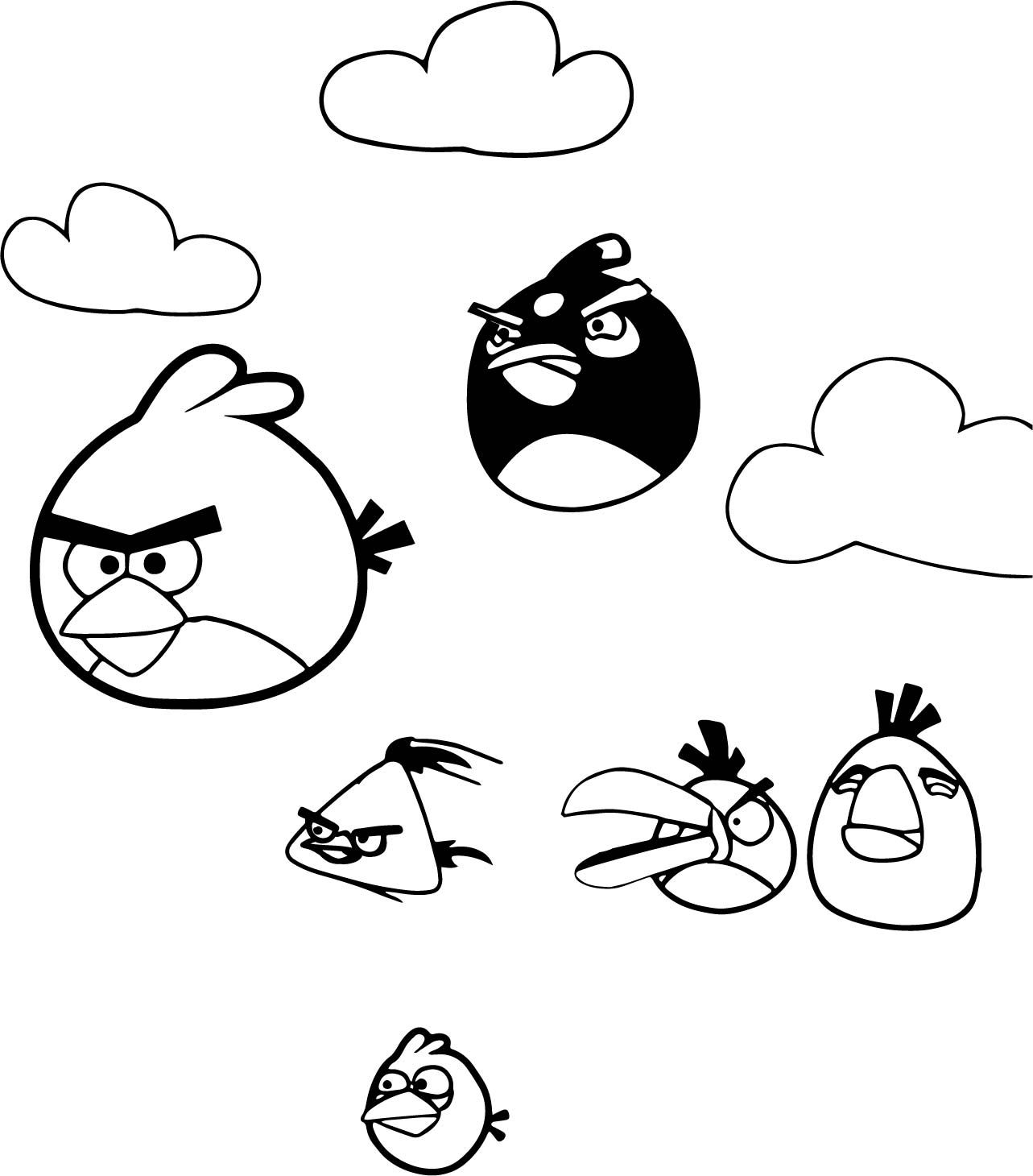 Cool Angry Birds Flying Coloring Page
