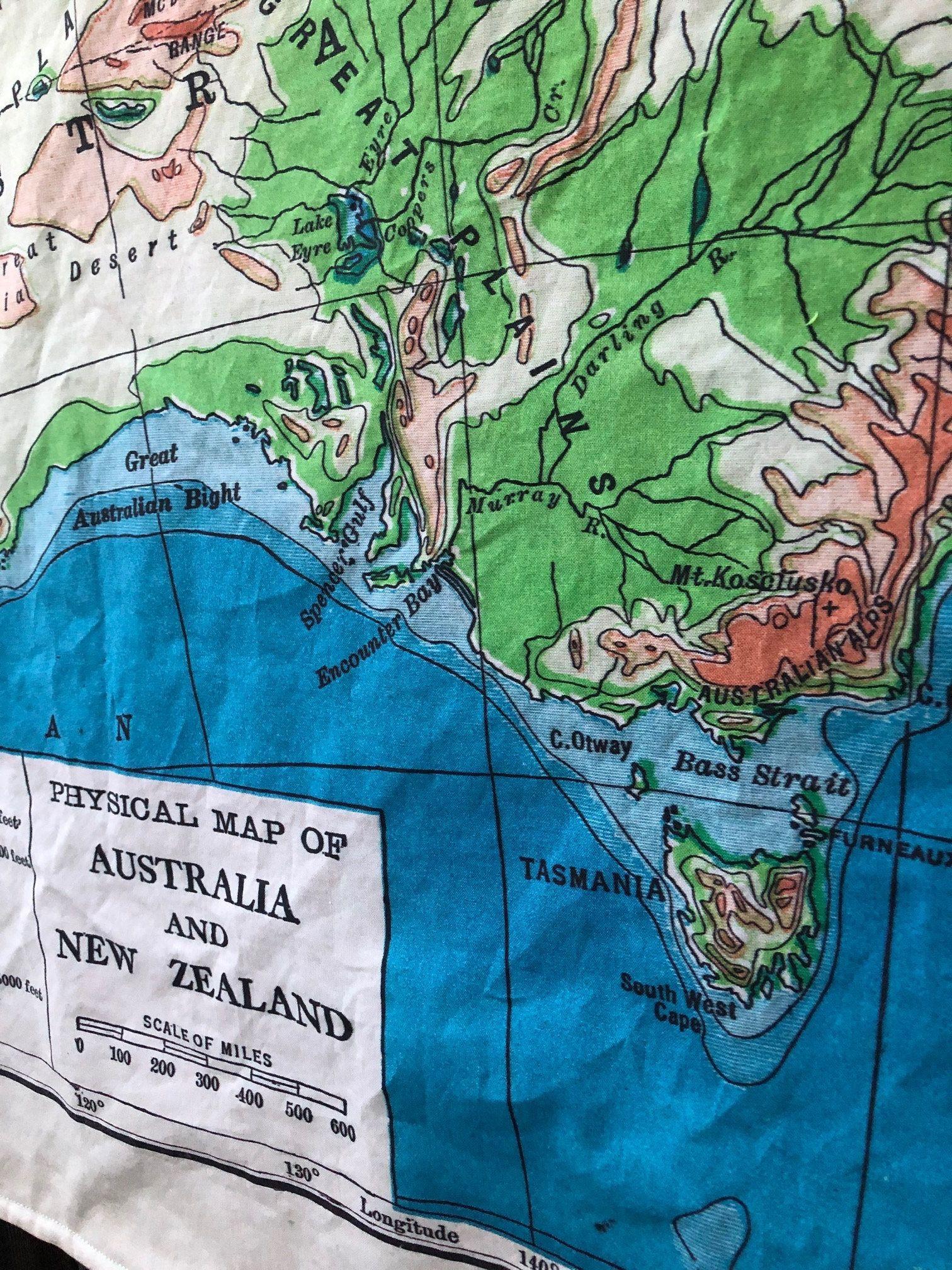 AUSTRALIA and NEW ZEALAND map blanket vintage map minky