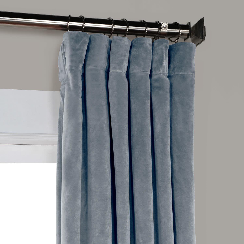 Denmark Blue Heritage Plush Velvet Curtain Curtains Blue Velvet