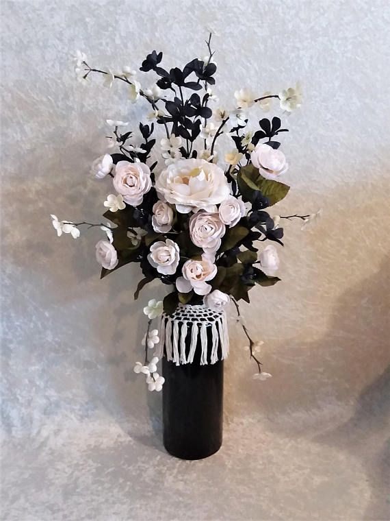 Silk Flower Arrangement In A Tall Ceramic Vase By Always In Bloom