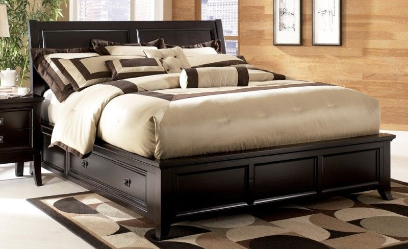 Bedroom King Size Wooden Bed Frame With Storage And Solid Wood Wall Panels Easy Steps Wooden King Size Bed