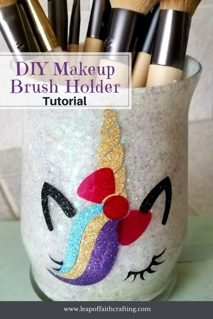 Makeup Brush Holder DIY! Make an easy unicorn glass
