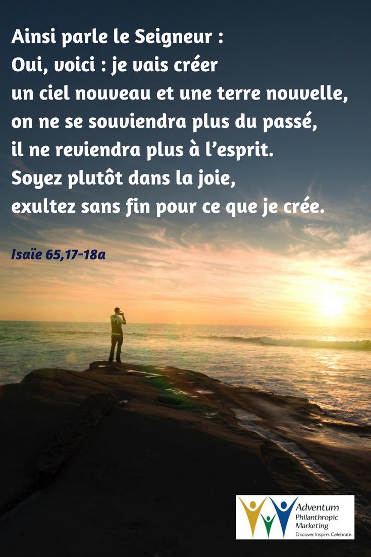 27 mars 2017 –Isaïe 65,17-18a | Bible, Outdoor, Beach