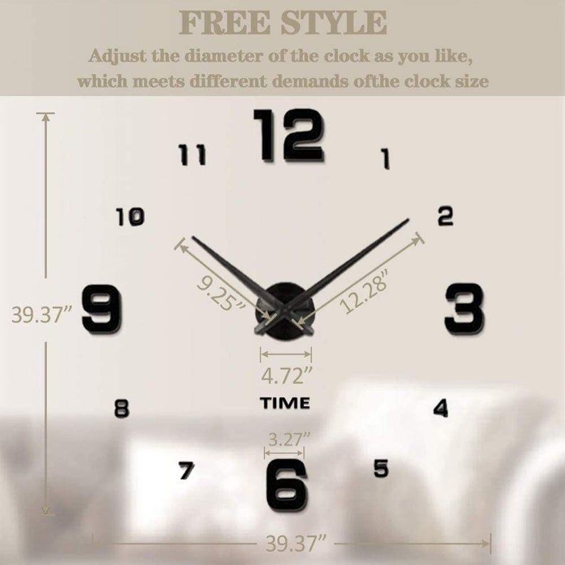 Large Frameless Wall Clock Sticker Diy Wall Clock Kit Home Etsy In 2020 Wall Clock Sticker Diy Clock Wall Wall Clock Kits