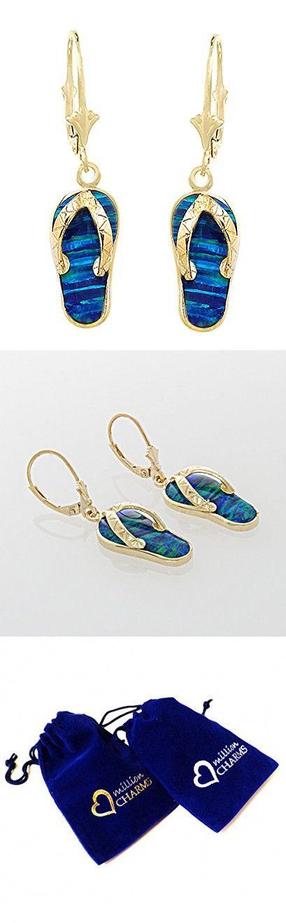2b2131aa1040 14k Yellow Gold Large Created Opal Flip Flop Leverback Dangle Earrings