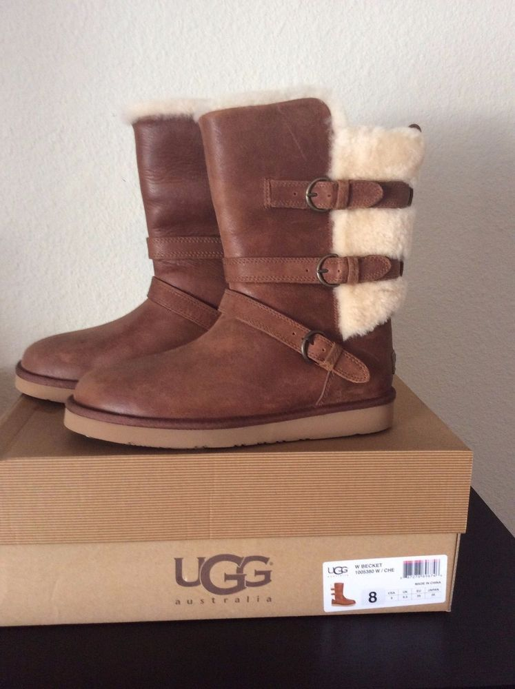 9da4bf09fcb NEW Women UGG Australia Becket Boot 1005380 Chestnut Leather size 8 ...