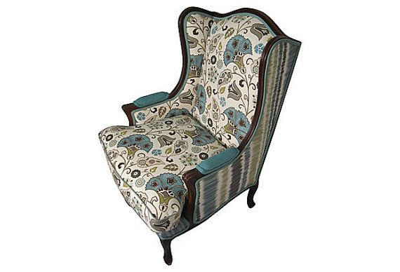 Best Upholstered Vintage Wingback Chair Blue Green Aqua Flower 400 x 300