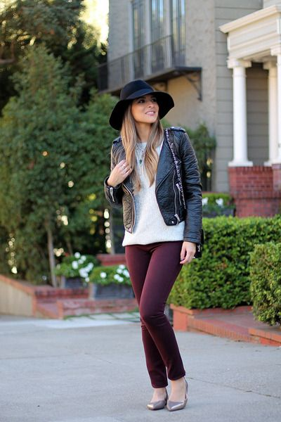 30eac7fe7db Maroon-leggings-dl1961-jeans-jeans-black-floppy-hat-forever-21-hat ...