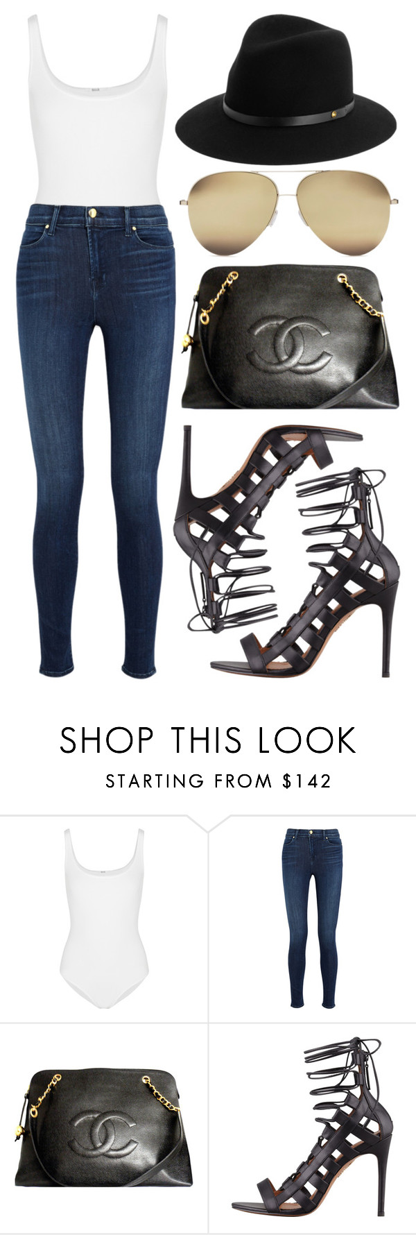 """""""Untitled #1457"""" by victoriaxo97 ❤ liked on Polyvore featuring Wolford, J Brand, Chanel, Aquazzura and rag & bone"""