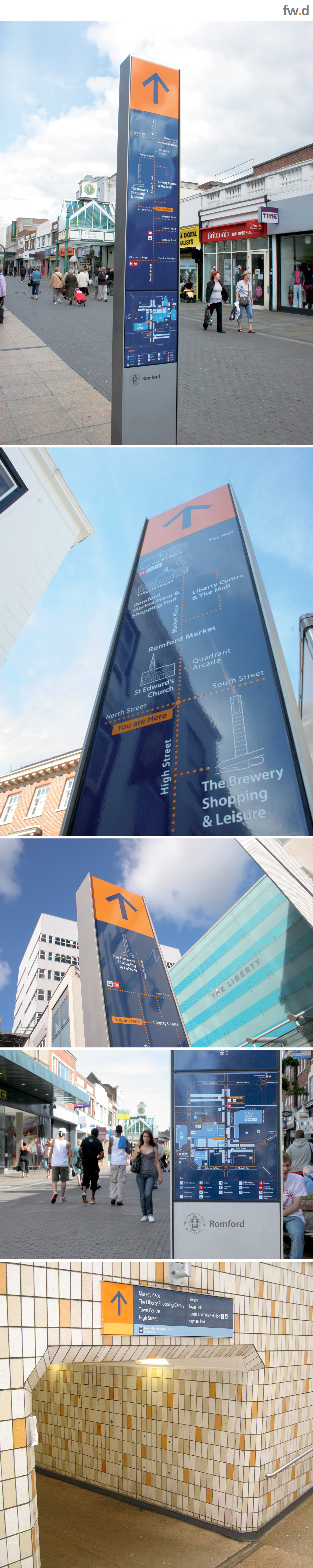 Innovative pedestrian wayfinding & signage design for Romford Town Centre by fwdesign.  www.fwdesign.com