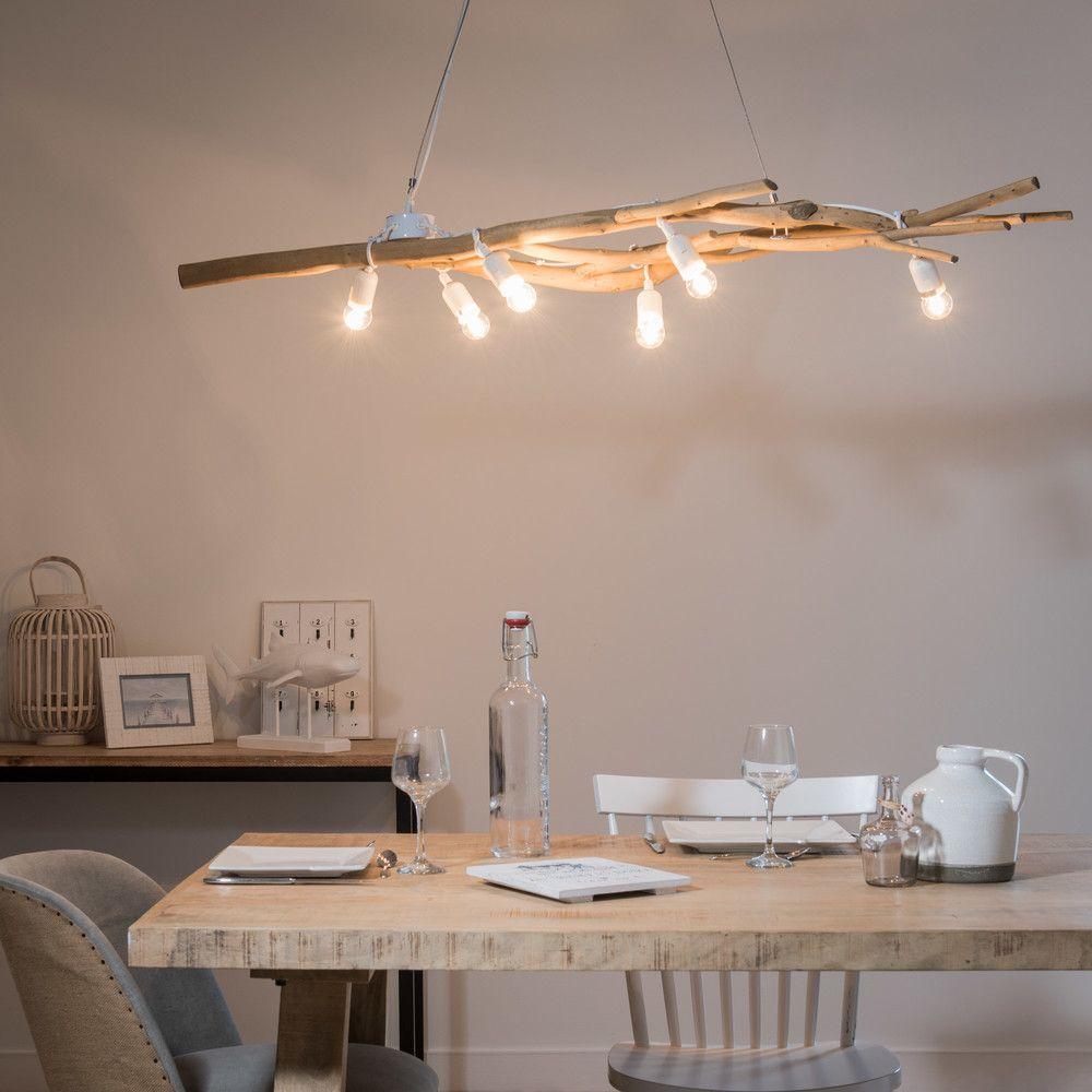 Suspension branchages en bois flotté en 2019 | Lampe bois ...