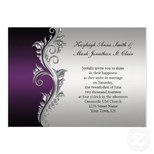 Printable Wedding Invitations Designs With Red And Silver: Vintage Purple Black And Silver Wedding Invitation