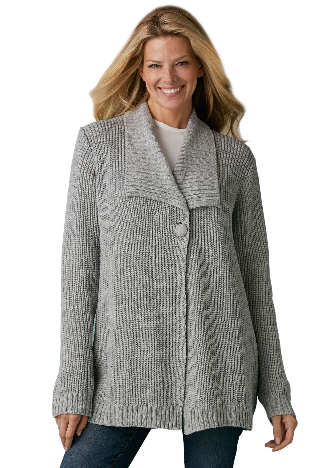 Sweater, cardigan style, in Shaker stitch with shawl collar | Plus ...