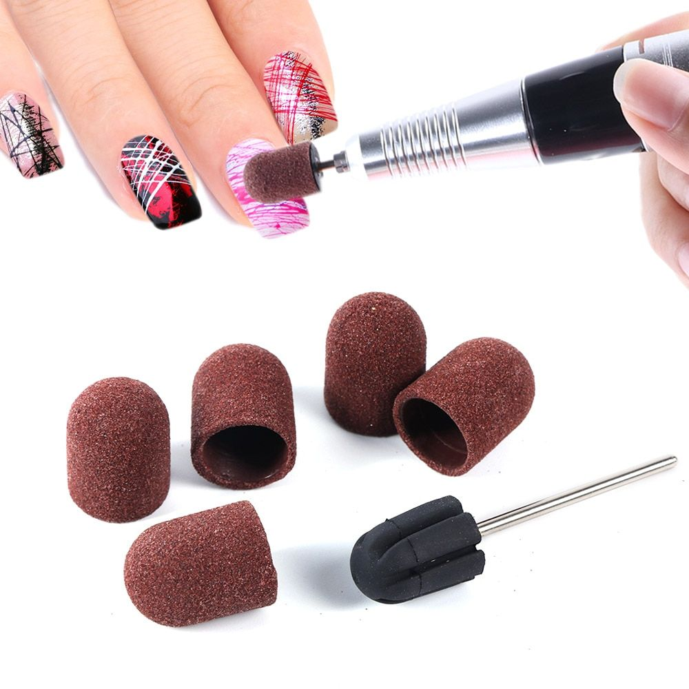 6pcs Set Nail Files Sanding Caps Uv Polish Remover 150 Grip Sanding Bands Block Pedicure Mani Diy Nail Art Tools Nail Art Tools Nail Manicure