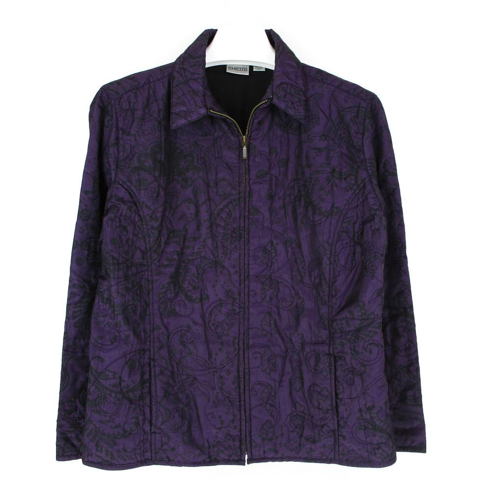 b0369a8837225 Chicos 3 XL Quilted Jacket Womens Plus Size Purple Black Floral Coat Full  Zip  Chicos