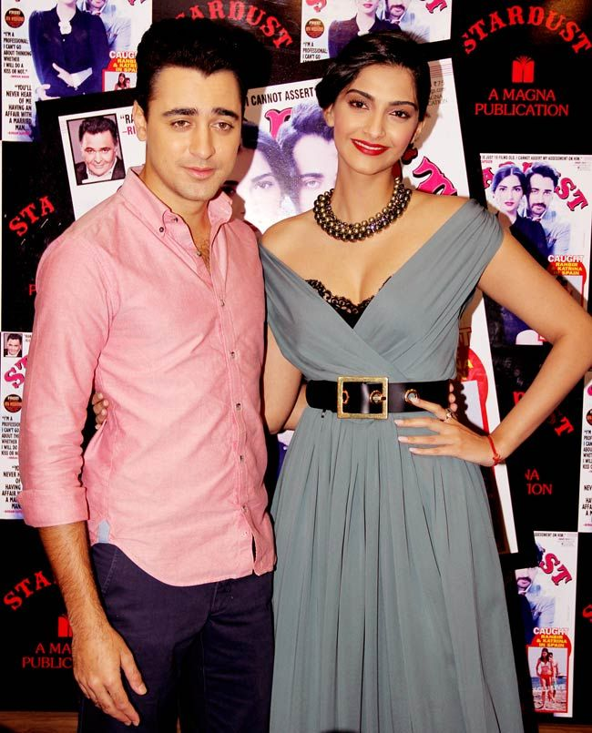 Imran Khan and Sonam Kapoor at the unveiling of Stardust magazine cover. #Bollywood #Fashion