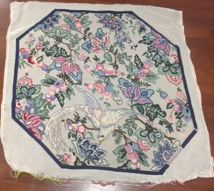 Vintage Needlepoint Needle Point Octagonal Rug Wall Hanging Bird Floral #Unbranded