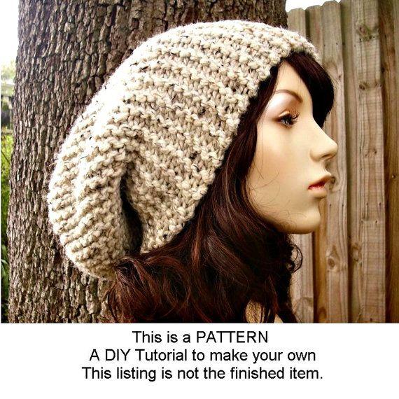Hand Knit Hat Woman Unisex Wool Hat Oversized Charcoal Chu