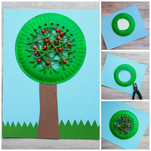 Photo of Paper plate apple tree craft for kids