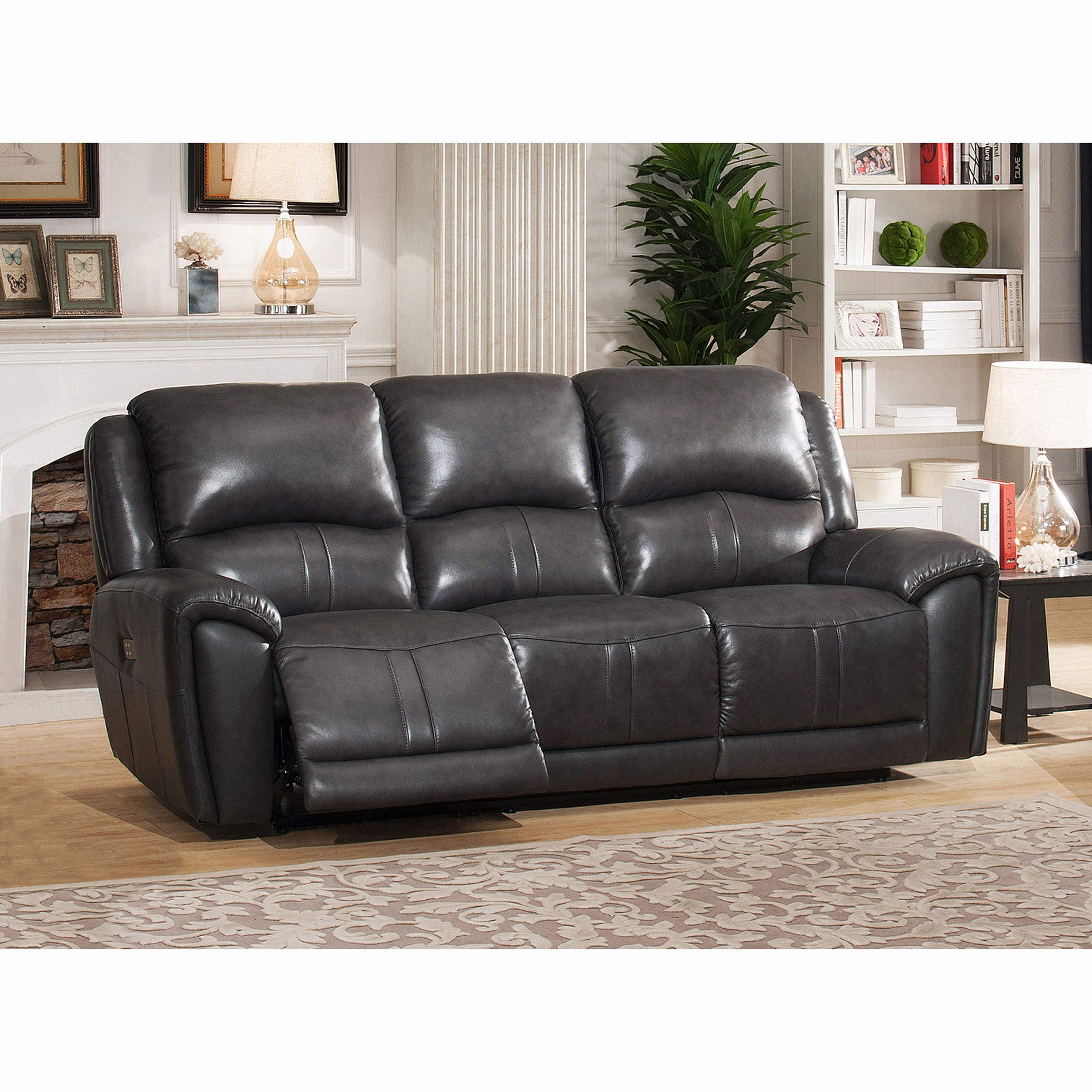 Miraculous Ari Grey Top Grain Leather Power Reclining Sofa With Power Bralicious Painted Fabric Chair Ideas Braliciousco