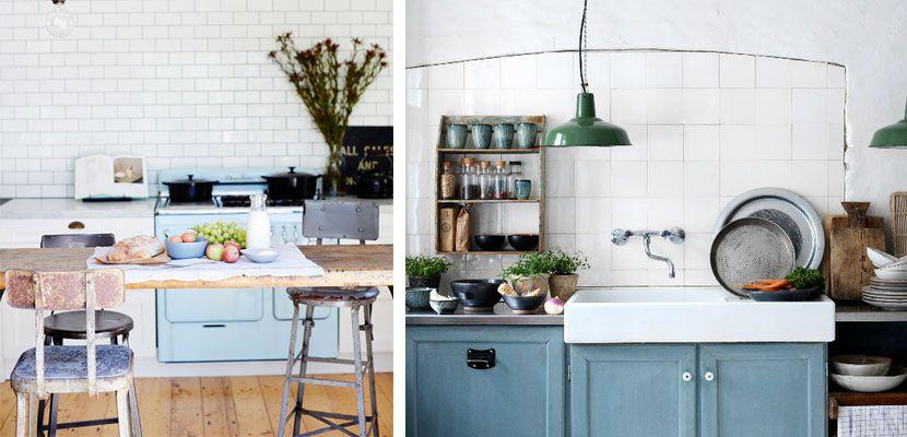cocinas vintage con toques azul pastel - Cocinas Vintage