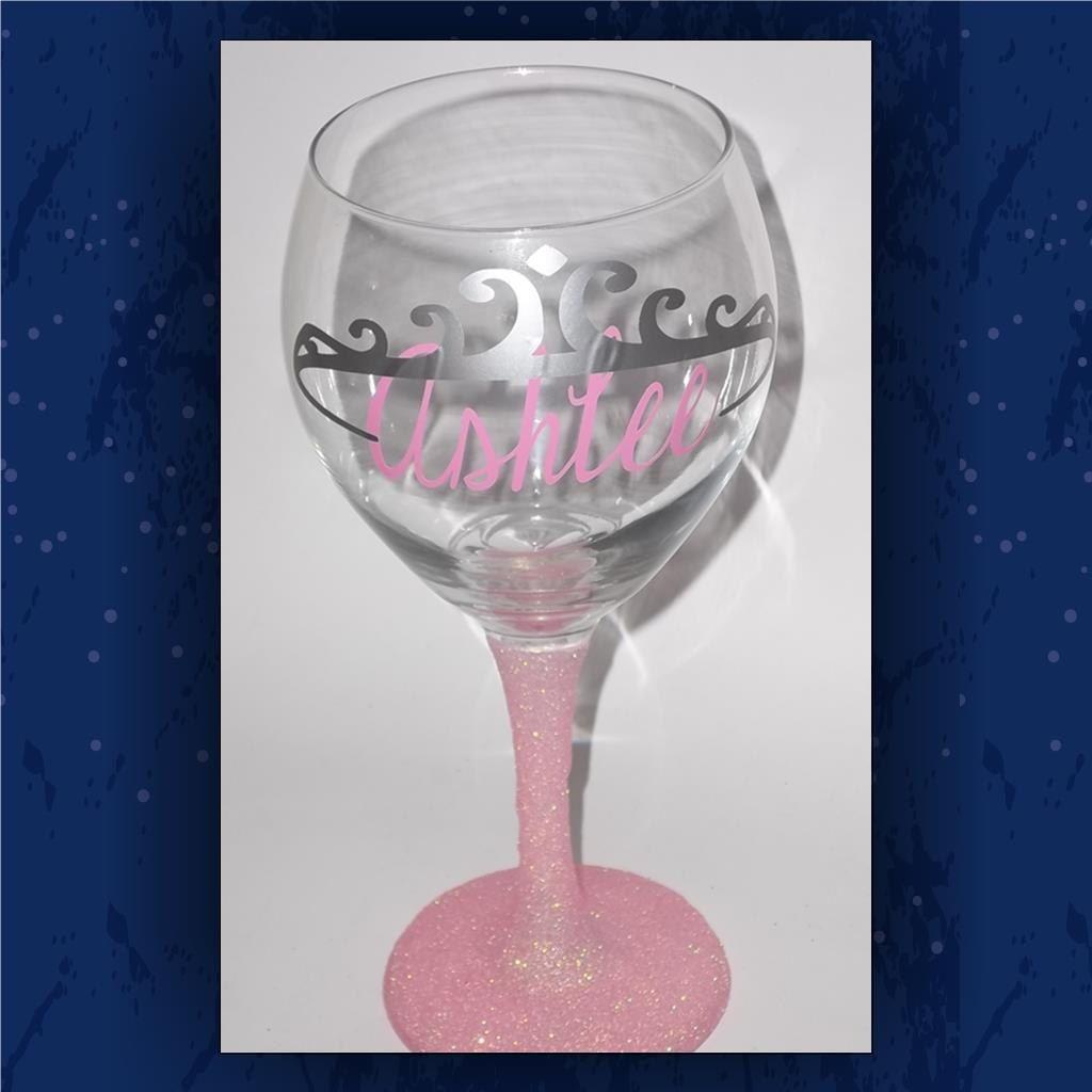Princess Crown Glitter Glass Birthday Glassware Pink Glitter - Custom vinyl decals for glassware
