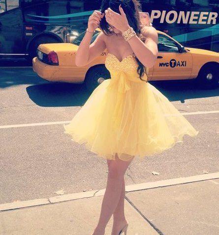 Yellow Puffy Short Prom Dresses