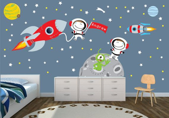 Space Decal Planets Astronaut Star Moon Rocket Ship Wall Decal Moon Mission Rocket Mission Mmrm Themed Kids Room Kids Room Paint Space Themed Bedroom