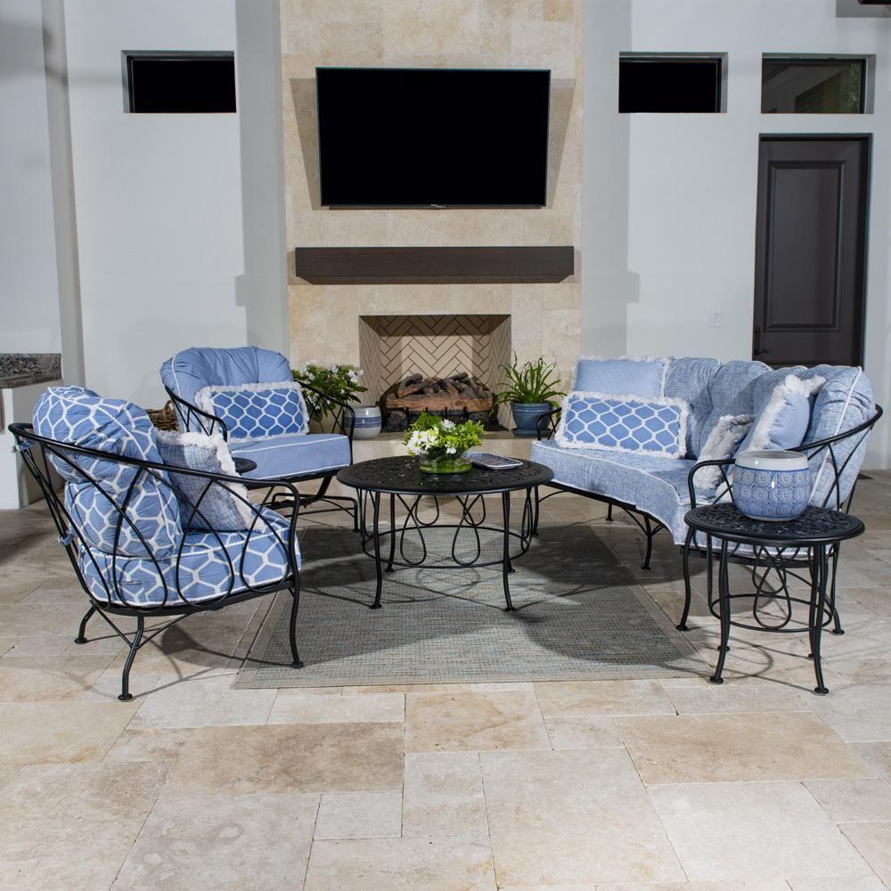Woodard Delaney Wrought Iron Patio Set | Furniture, Patio ...