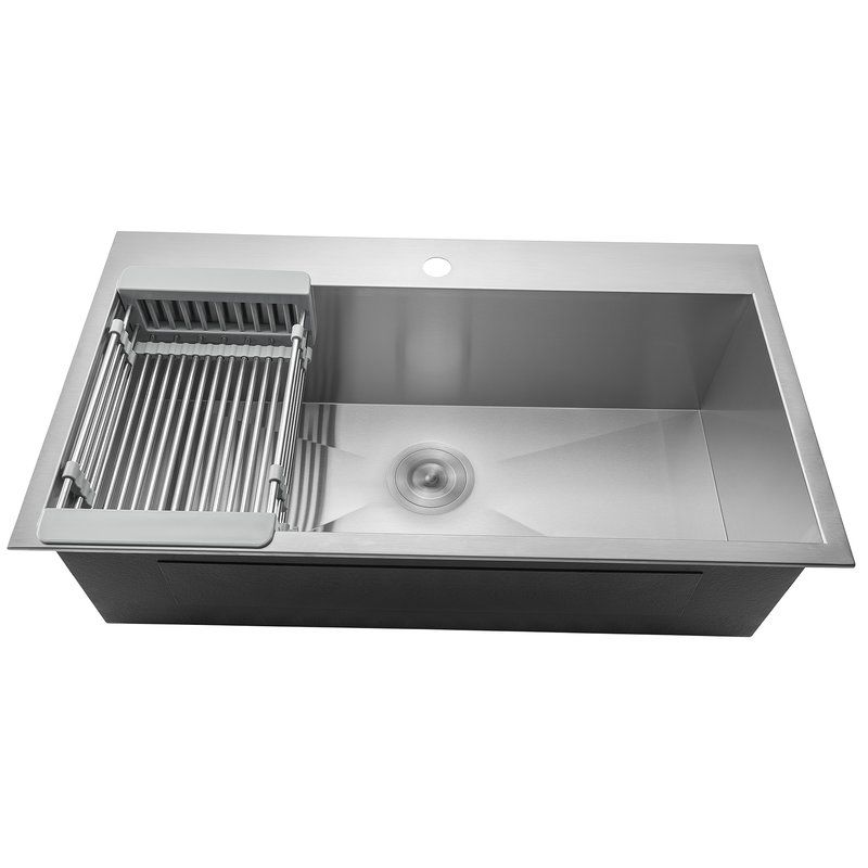 Handmade Stainless Steel Drop In Kitchen Sink With Adjustable Tray And Strainer Kit Drop In Kitchen Sink Kitchen Sink Remodel Top Mount Kitchen Sink