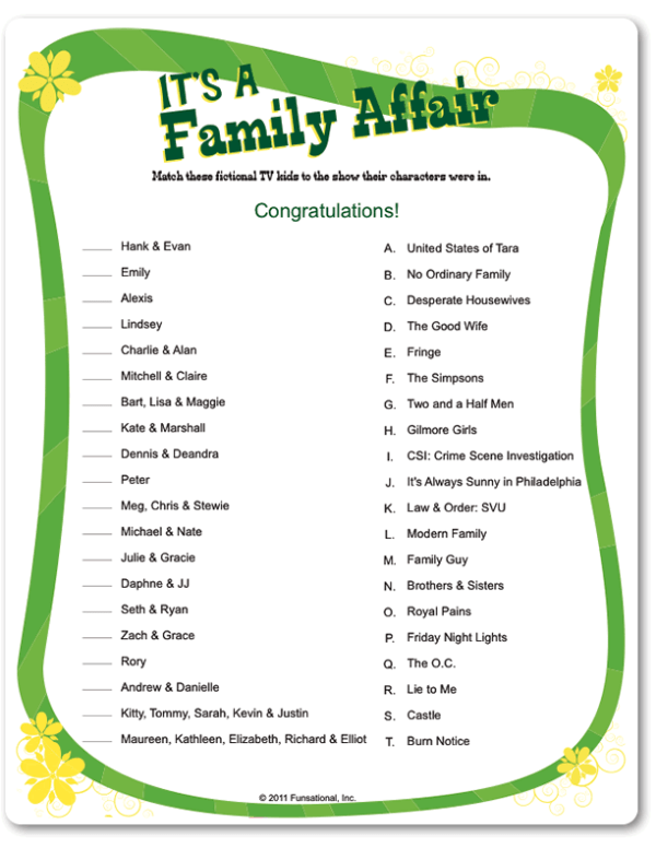 Printable Its A Family Affair Reunion Games Activities