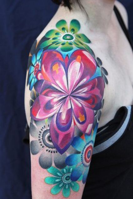 Larger than I'd ever consider for my own body if I ever got a tattoo, but the colors are just so entrancing on this flower tattoo