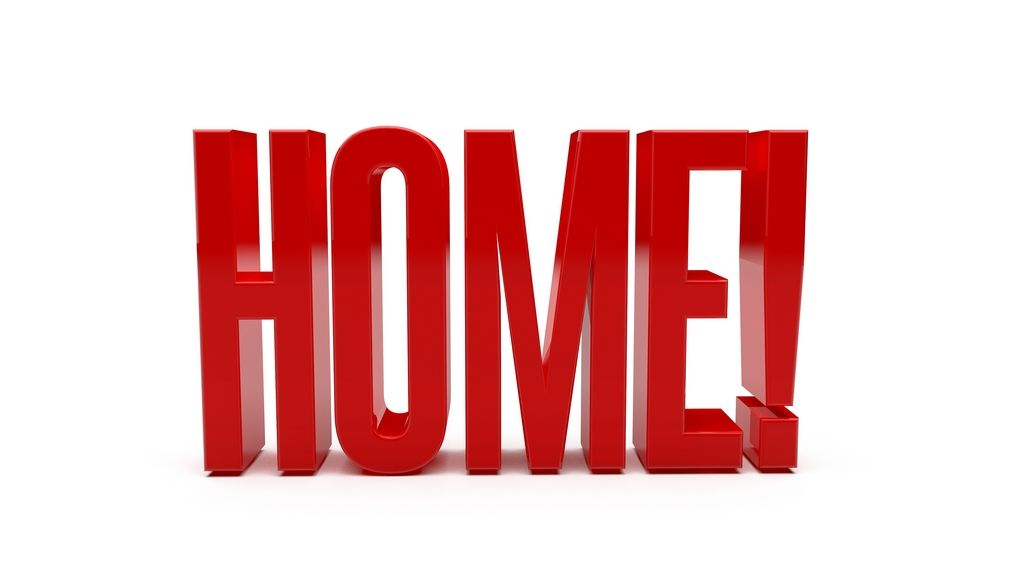 RED WORD HOME Clean, reflective red word HOME with exclamation ...