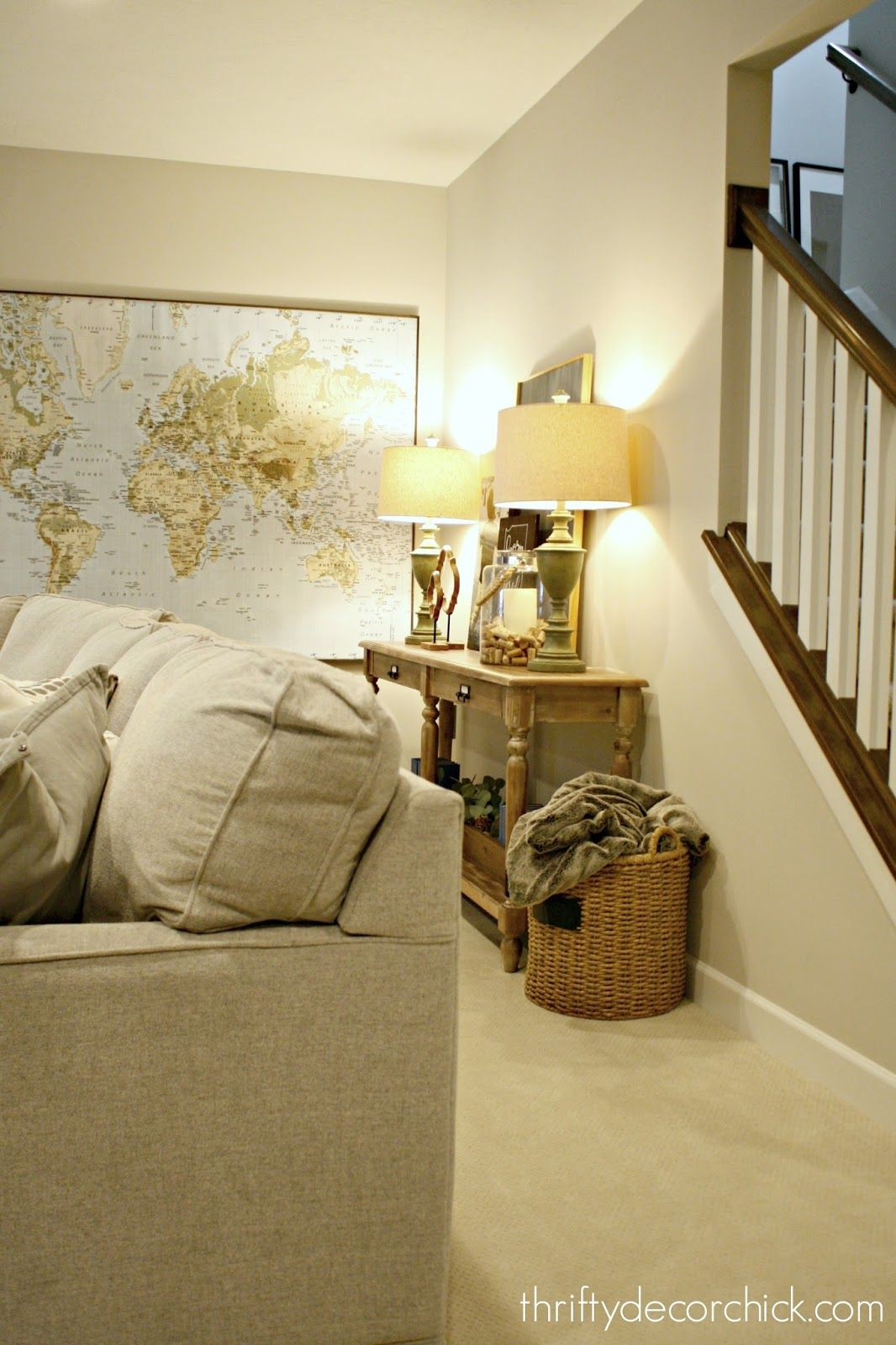 Adding some warm and cozy to the basement family room ...