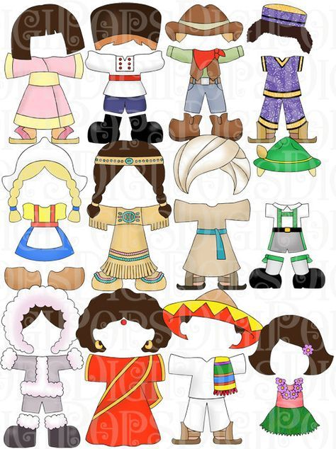 Children of the World Dress Up Digital Clip Art Set -Personal and Commercial- Child, Dress Up, Paper Dolls, Costumes, Instant Download