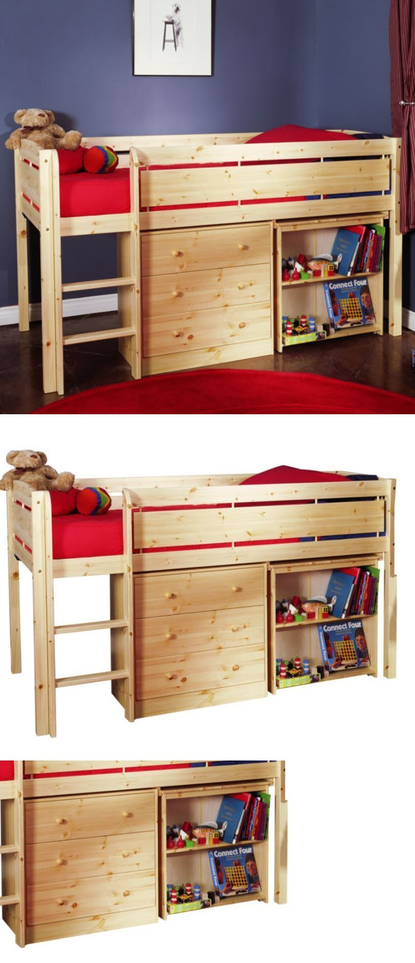 Loft bed with desk full size mattress  Kids Furniture Loft Beds For Kids Low Twin With Ladder  Pine Wood
