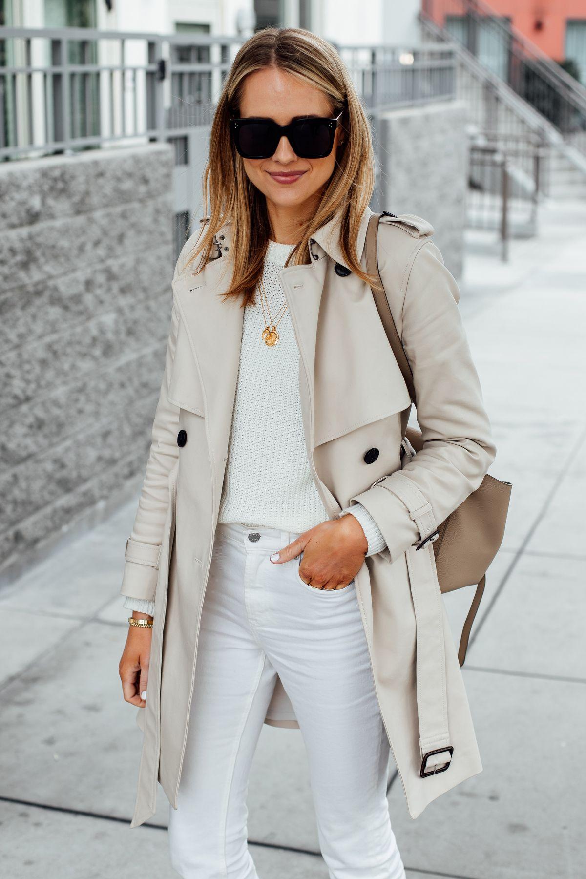 Fashion Jackson Wearing Club Monaco Trench Coat White Sweater White Jeans Celine Mini Belt Bag 1 Fashion Jackson Coat Outfits Trench Coat Outfit [ 1800 x 1200 Pixel ]