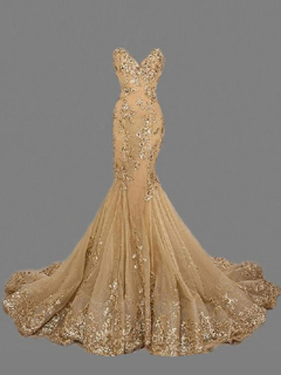 Country prom dresses,Gold Trumpet/Mermaid Sweetheart Organza Prom Dresses Evening Dresses