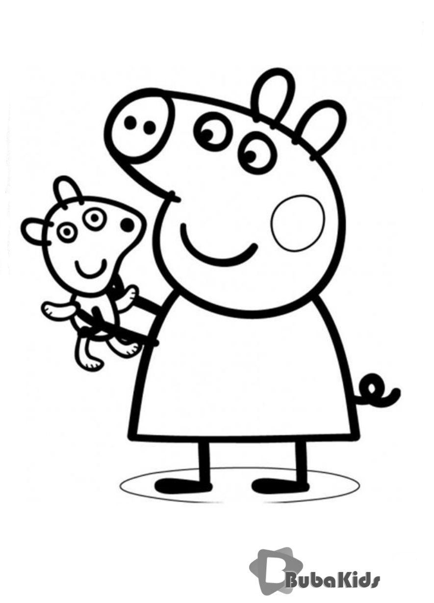 Peppa Pig Coloring Pages Free Printable Bubakids Com Peppa Pig Printable Peppapig Printable Carto Kleurplaten Voor Kinderen Kleurplaten Papieren Bloemen