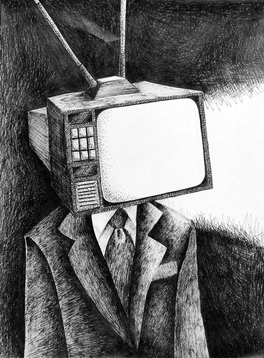 TV head by pai-draws | Tv head, Propaganda art, Person drawing