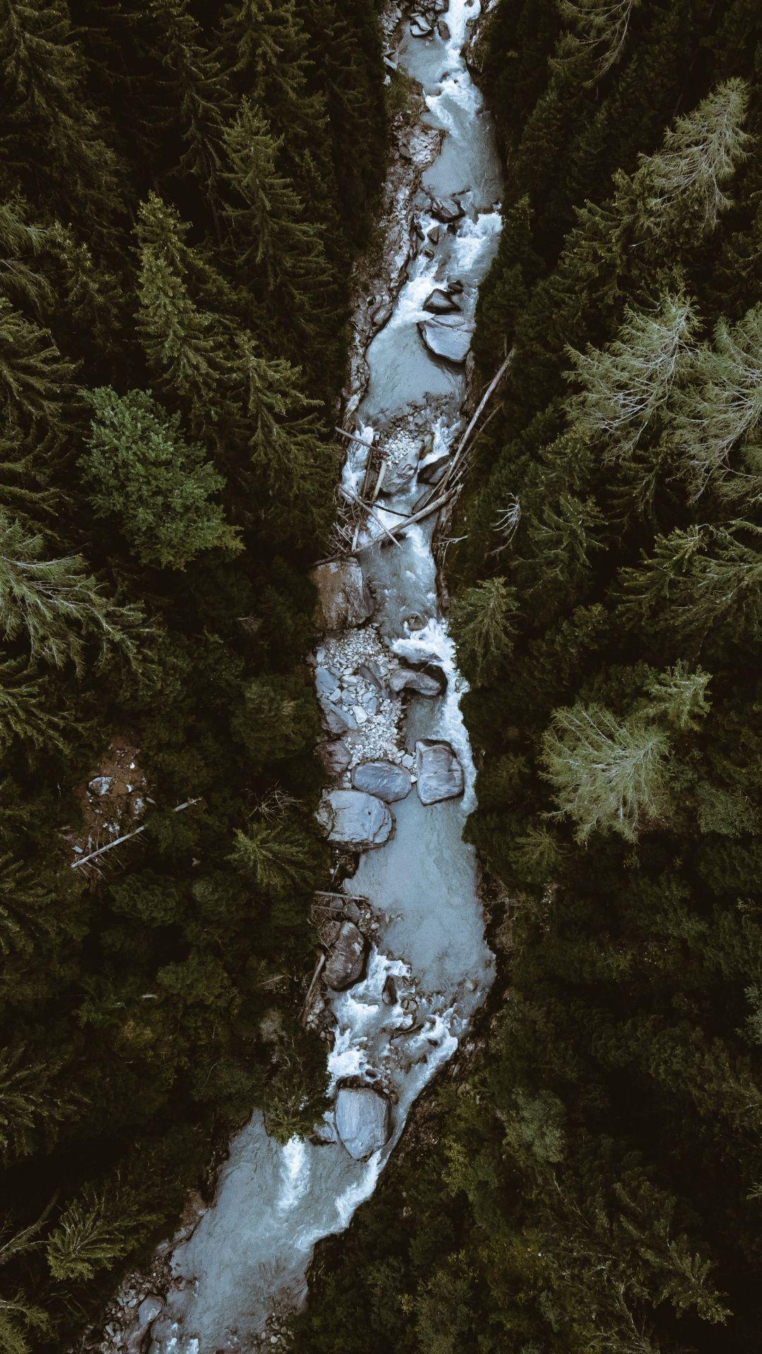 River, water current, bird eye view, Swiss, 1080x1920