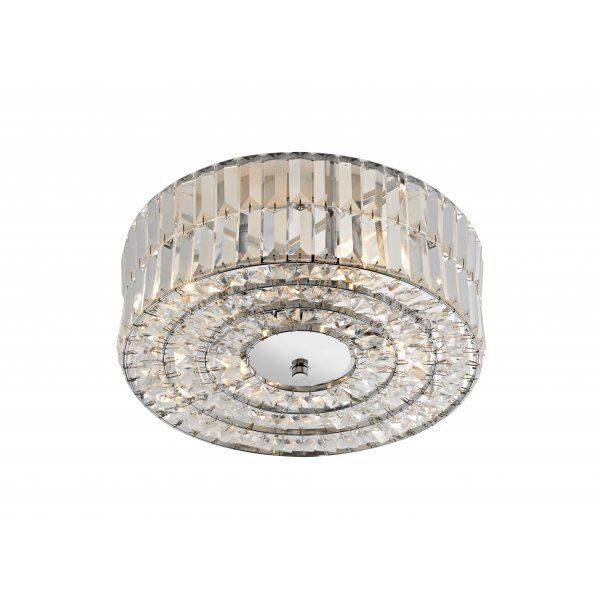 Dar Lighting Errol 4 Light Crystal Semi Flush Polished Chrome Ceiling With Decoration