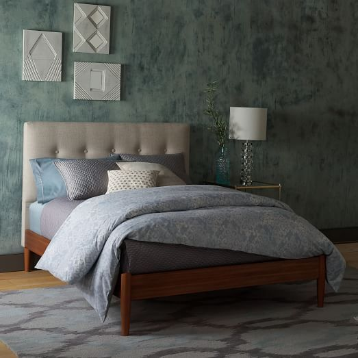 Mid-Century Button-Tufted Bed - Oatmeal
