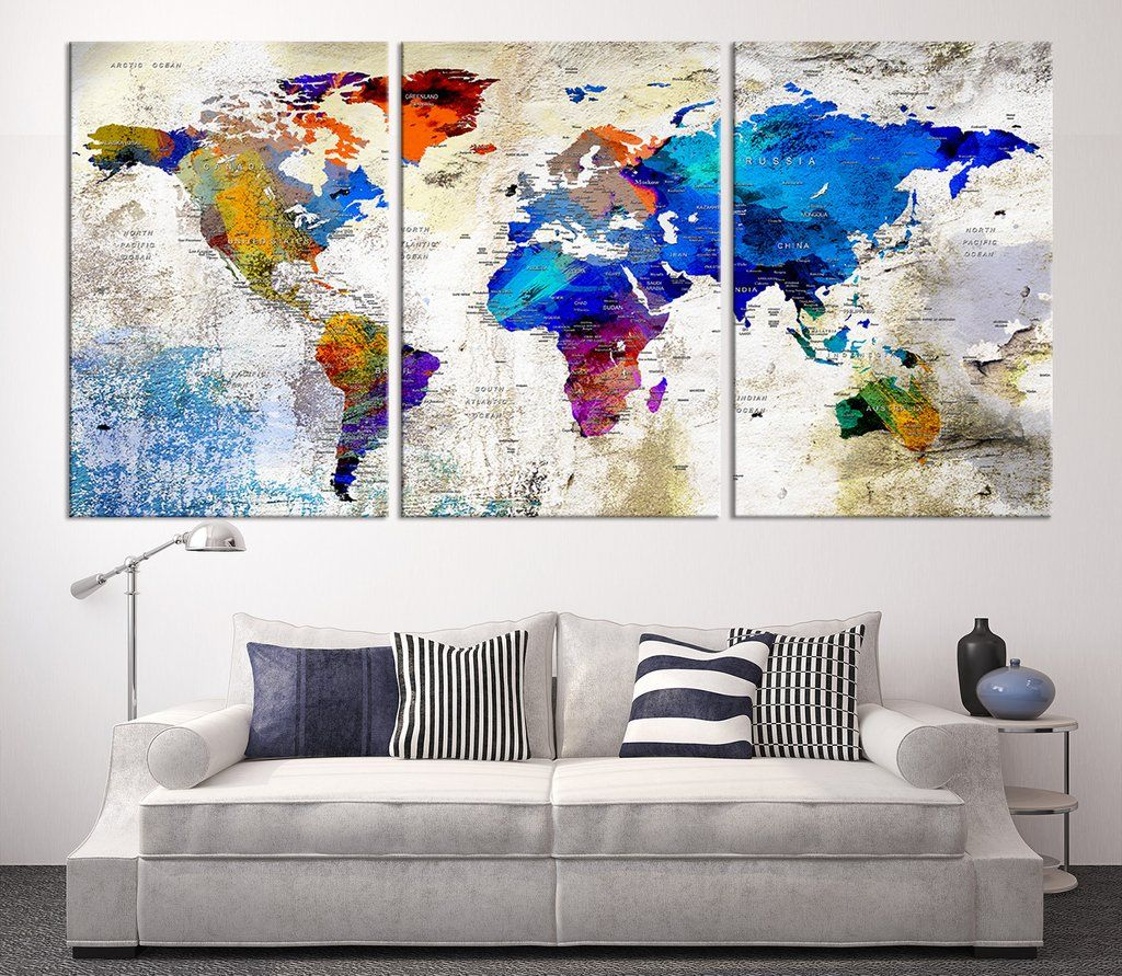Large wall art push pin world map canvas print world map wall art large wall art push pin world map canvas print world map wall art canvas gumiabroncs Image collections