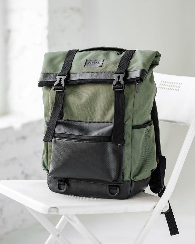 Vegan Rucksack Roll Top Backpack Khaki Backpack Waterproof Etsy Top Backpacks Rolltop Backpack Waterproof Laptop Backpack